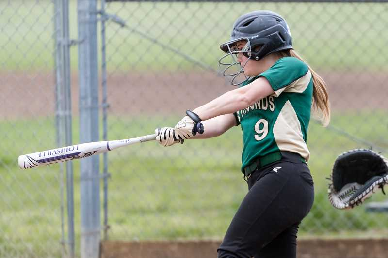 STAFF PHOTO: CHRISTOPHER OERTELL - Gaston's Daisy Clark takes a swing during the Greyhounds' game against Knappa Tuesday, May 1, at Gaston High School.