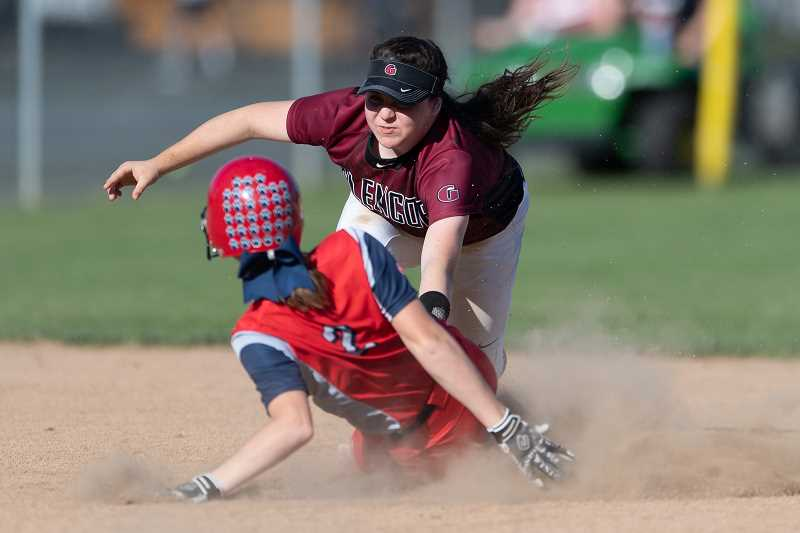 STAFF PHOTO: CHRISTOPHER OERTELL - Glencoe's Dana Butterfield tags Westview's Kelsey Day out trying to steal second during the Tide's game against Westview Monday, May 7, at Glencoe High School.