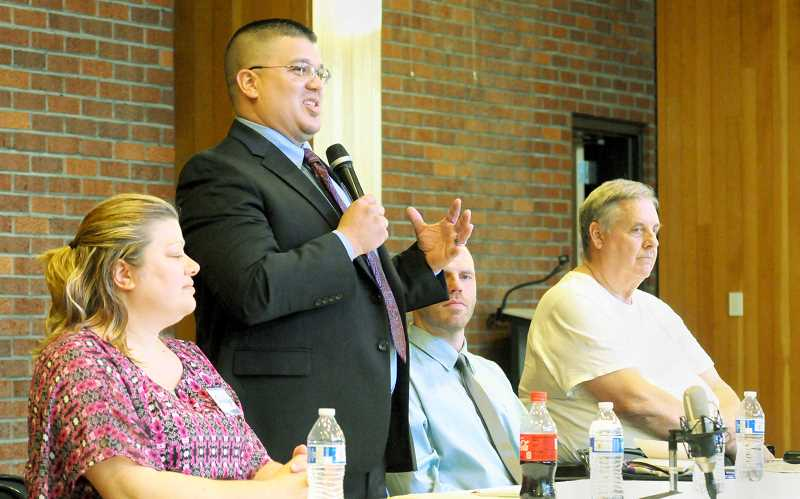 GARY ALLEN - County commissioner candidate Josh Rojas speaks during a forum held May 2 at the Chehalem Cultural Center.