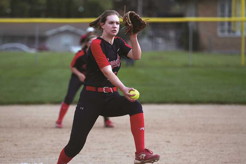 PHIL HAWKINS - Kennedy senior Tressa Riedman struck out seven batters in a complete game win over the top-ranked Central Linn Cobras on April 30.