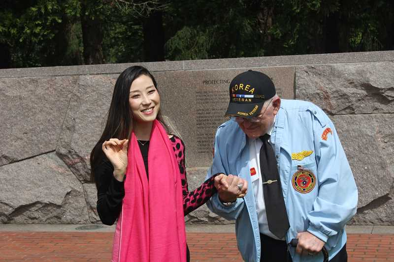 SPOKESMAN PHOTO: COREY BUCHANAN - Korean War veterans advocate Hannah Kim and President of the Korean War Veterans Association Oregon Chapter Bob Cassidy delivered speeches during the ceromony May 5.
