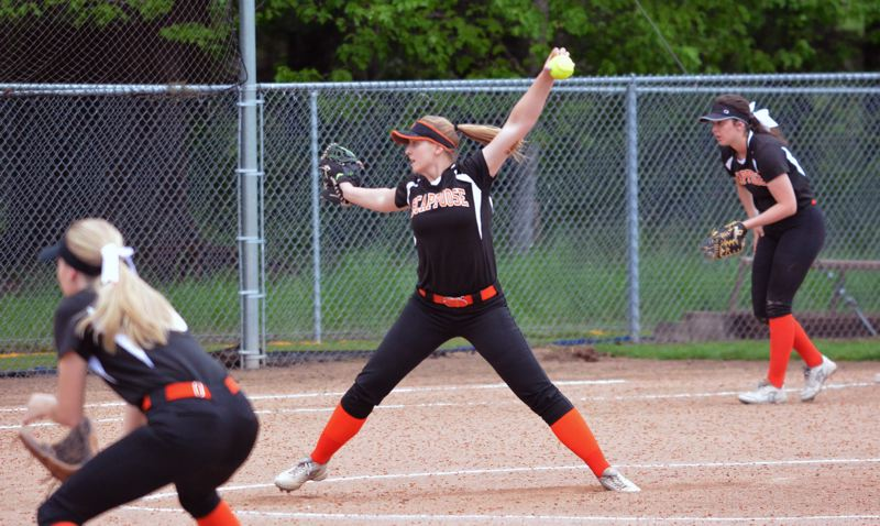TIMES PHOTO: MATT SINGLEDECKER - Scappoose left-handed pitcher Megan Dews fires a pitch toward the dish against Valley Catholic.