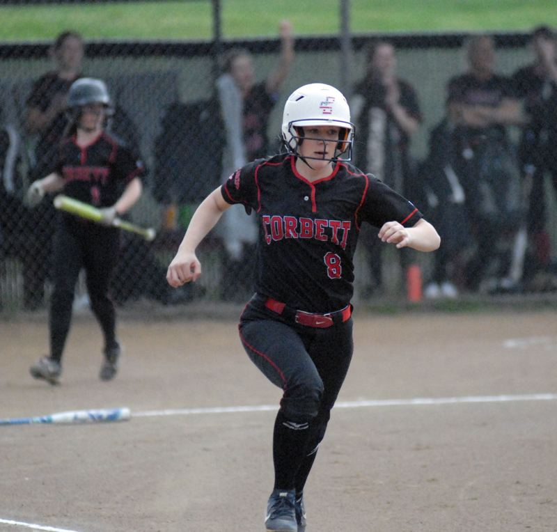 GRESHAM OUTLOOK: MATT RAWLINGS - Lindsey Flegel runs down the first base line after hitting a single to left field in Corbett's 6-3 win over Madras.