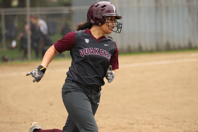TRIBUNE FILE PHOTO - Franklin Quakers' Bailey Nguyen rounds first base in a league game at Wilshire Park in April 2017.
