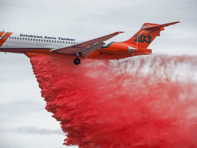 PHOTO BY TOM BROWN - All five Erickson Aero Tanker MD-87s, along with two DC-7s, were certified last week for dropping fire retardant, under contract with the U.S. Forest Service, state of Oregon and state of California.