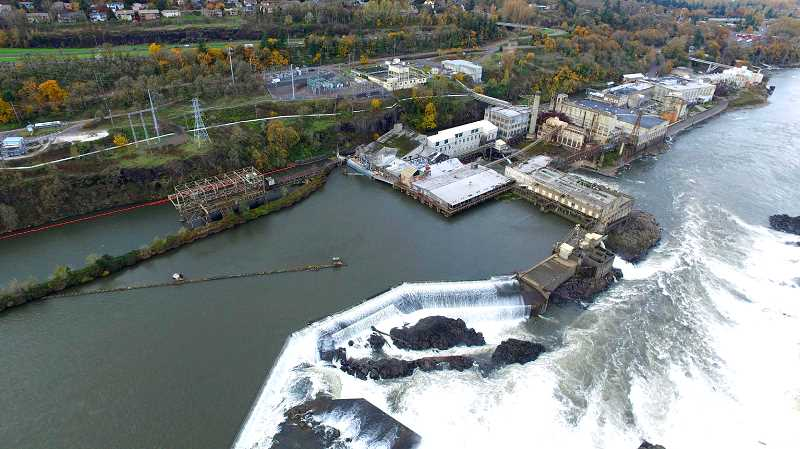 TIDINGS FILE PHOTO - PGE owns more than 130 acres of land along West Linn's waterfront that may be redeveloped, including the island that houses the former West Linn Paper Company mill.