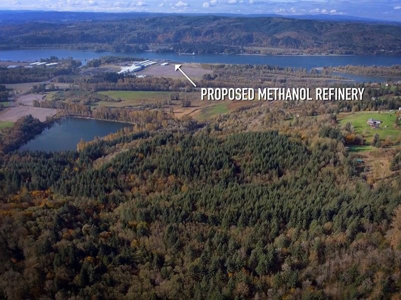 COURTESY: COLUMBIA RIVERKEEPER - Site of a proposed $1.8 billion methanol refinery and export terminal along the Columbia River in Kalama.