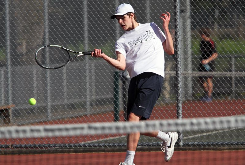 TIDINGS FILE PHOTO - West Linn sophomore Logan Thompson (shown here earlier this year) played his way into Wednesday's Three Rivers League singles championship match.