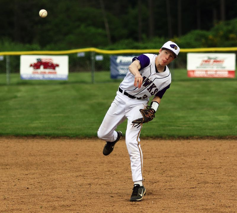 TIMES PHOTO: DAN BROOD - Horizon Christian sophomore second baseman Cade Tillema makes a throw to first base during the Hawks 3-0 win over Amity.