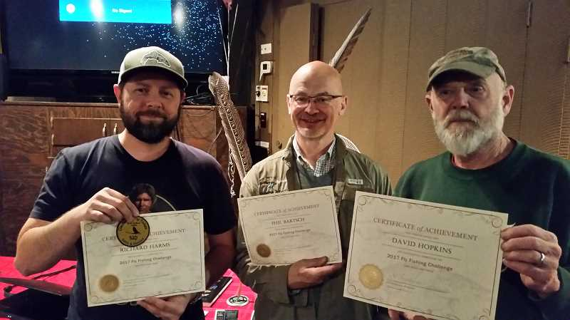 COURTESY PHOTO: CLACKAMAS FLY FISHERS - CFF members Richard Harms, Phil Bartsch and David Hopkins completed the groups initial Fly Fishing Challenge in 2017. Now theyre working toward completing requirements to earn their second badge in 2018.