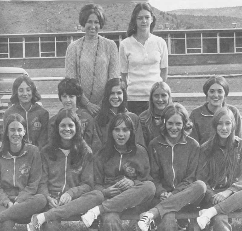 PHOTO COURTESY OF BOWMAN MUSEUM  - Diane Hayes, top left, poses for a photo with her first state cross country championship team in 1972.
