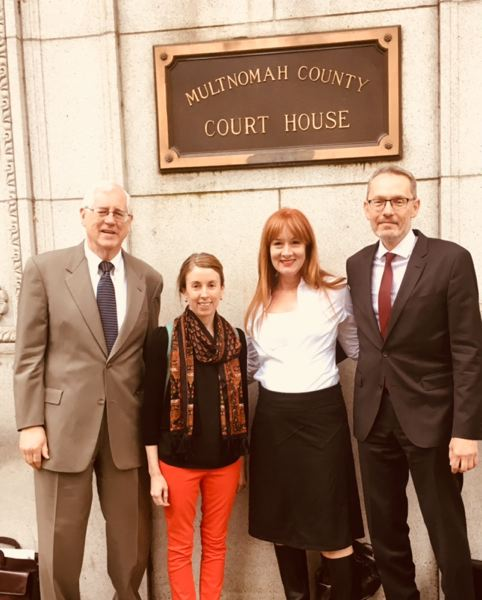 COURTESY: KIM SORDYL - From left to right: Attorney Jack Orchard, former Tribune staff writer Beth Slovic, Portland parent Kim Sordyl and attorney Jeff Merrick at the Multnomah County Court House Friday morning.