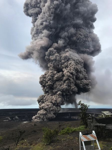 COURTESY PHOTO: USGS - A plume of smoke from Kilauea's Halema'uma'u crater shot skyward Wednesday, May 9. A possible explosive eruption is anticipated in the next few weeks.