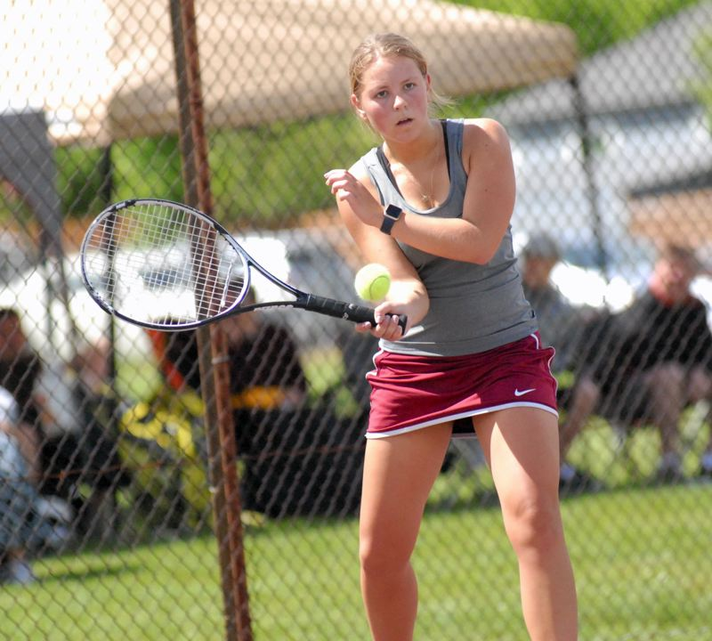 SANDY POST: MATT RAWLINGS - Sandy's Maggie Fox focuses in on getting her forehand back over the net in her quarterfinal victory on Wednesday.