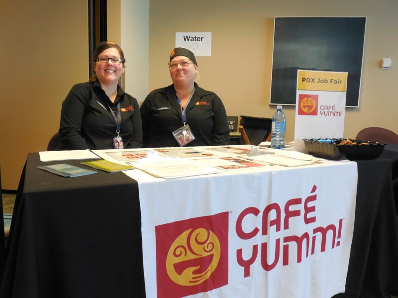 PAMPLIN MEDIA GROUP: JOSEPH GALLIVAN - Managers from Cafe Yummi hoping to recruit at the PDX Job Fair held at Portland International Airport.