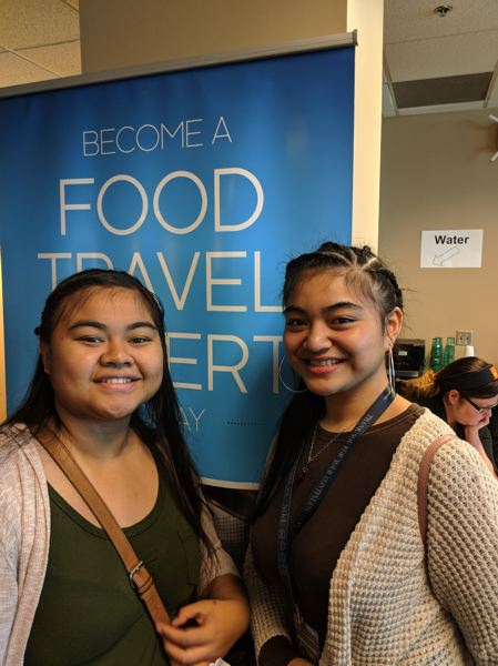 PAMPLIN MEDIA GROUP: JOSEPH GALLIVAN  - Jobseekers Salome Denis (right) of Portland was there with her cousin Derma Dareas, who has just moved here from Maui, Hawaii. Denis, 19, already works for a wheelchair company at PDX, and is interested in working for ATS which cleans airplane cabins, before trying to be a flight attendant when she is 21. Dareas loves airports and wants to work for the TSA.