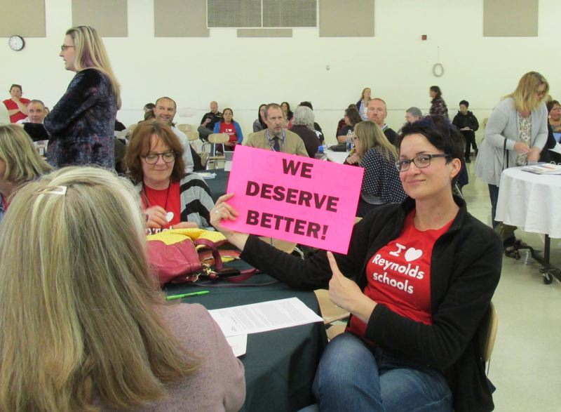 OUTLOOK PHOTO: TERESA CARSON - Reynolds teachers propose cutting costs in the central office before eliminating teachers, which will increase class sizes.