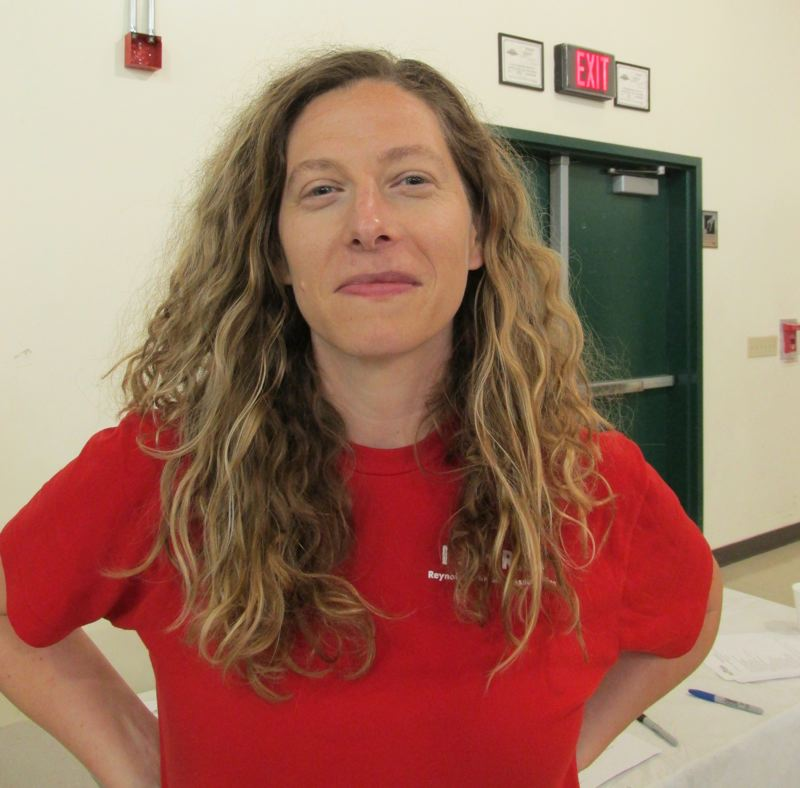 OUTLOOK PHOTO: TERESA CARSON - Emily Crum, president of the Reynolds teachers union, calls the proposed budget a joke.