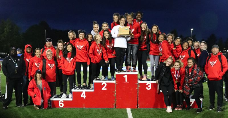 PAMPLIN MEDIA PHOTO: JIM BESEDA - Clackamas placed first in six events, second in six events, and third in two events, racking up 158 points to clinch the girls' team title at the Mt. Hood Conference track and field championships Wednesday at Gresham High School.