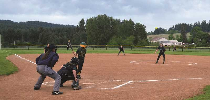 PIONEER PHOTO: TANNER RUSS - Colton softball bested the Salem Academy Crusaders 13-3 in five innings on Tuesday, May 8 and took second place in league doing so.