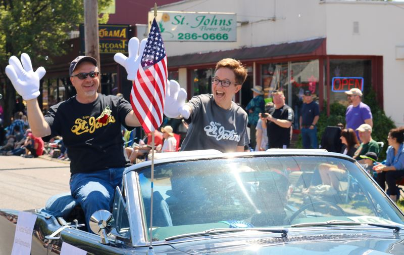 TRIBUNE PHOTO: ZANE SPARLING - Rep. Tina Kotek was all smiles during the annual St. Johns Parade on Saturday, May 12 in Portland.