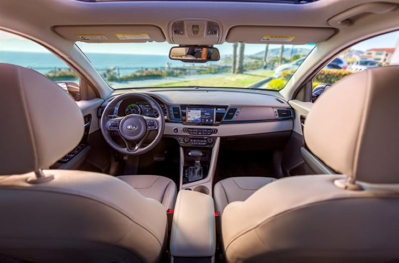 KIA MOTORS AMERICA - The interior of the 2018 Kia Niro PHEV is refreshingly conventional, with only special instrumentation to remind the driver it is a plug-in hybrid.