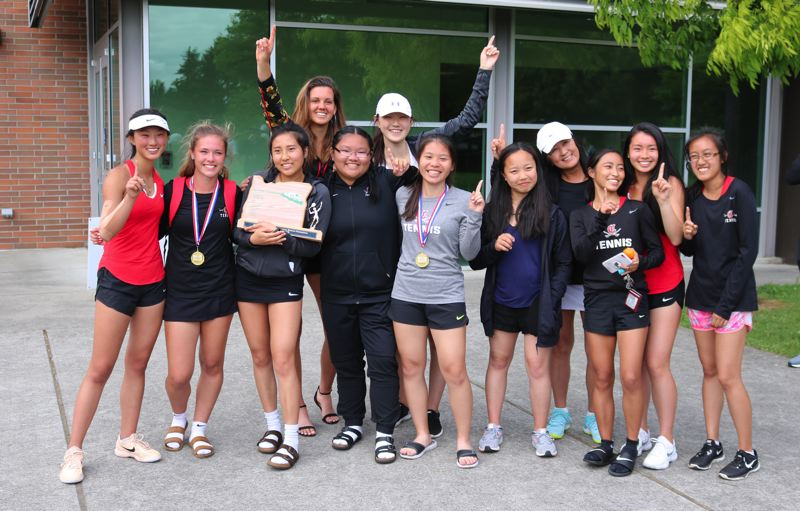 PAMPLIN MEDIA PHOTO: JIM BESEDA - Clackamas claimed a third consecutive girls' team title at the Mt. Hood Conference tennis championships at David Douglas High School.