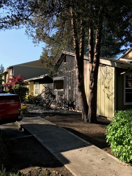 COURTESY PHOTO - First responders say a blaze broke out at a one-story apartment complex located at 12450 Northwest Barnes Road on Sunday, May 13.
