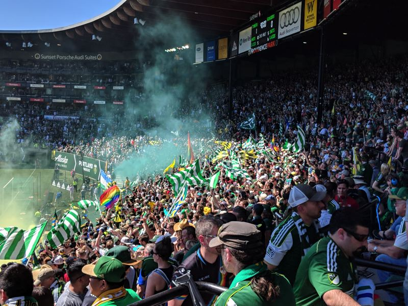 PAMPLIN MEDIA GROUP: JOSEPH GALLIVAN - At the final whistle, the Timbers Army celebrates another win against the Sounders and another nightmare day for their rivals.