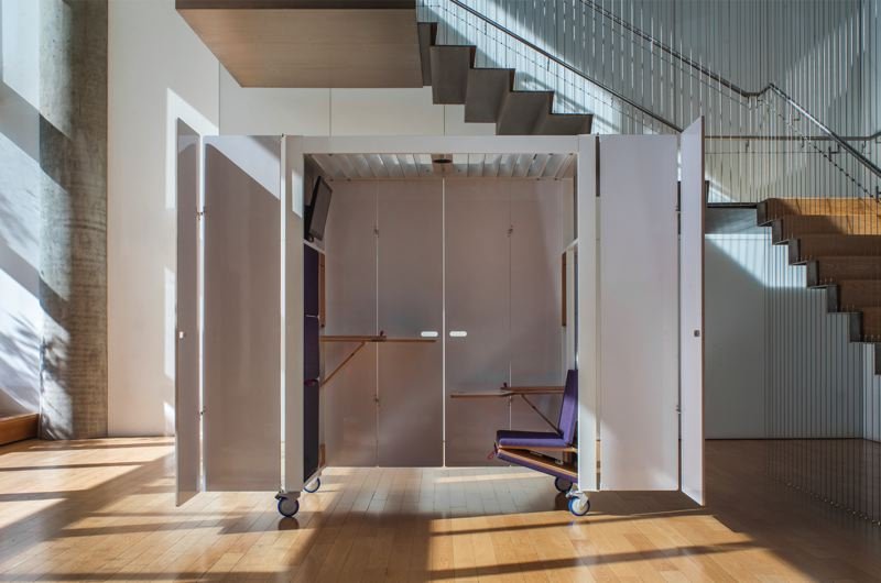 COURTESY: TWOFOLD - The Twofold mobile meeting room for a privacy in busy offices, was designed at an architecture firm ZGF but brought to market by a pair of entrepreneurs, who called their firm Twofold.