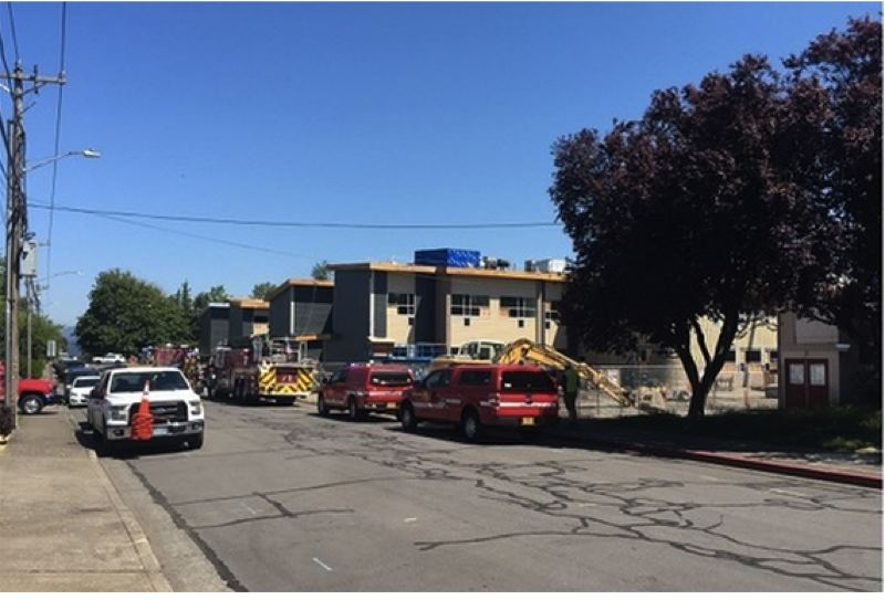 CONTRIBUTED PHOTO: KOIN 6 - Nobody was hurt in a small fire at the new school under construction.