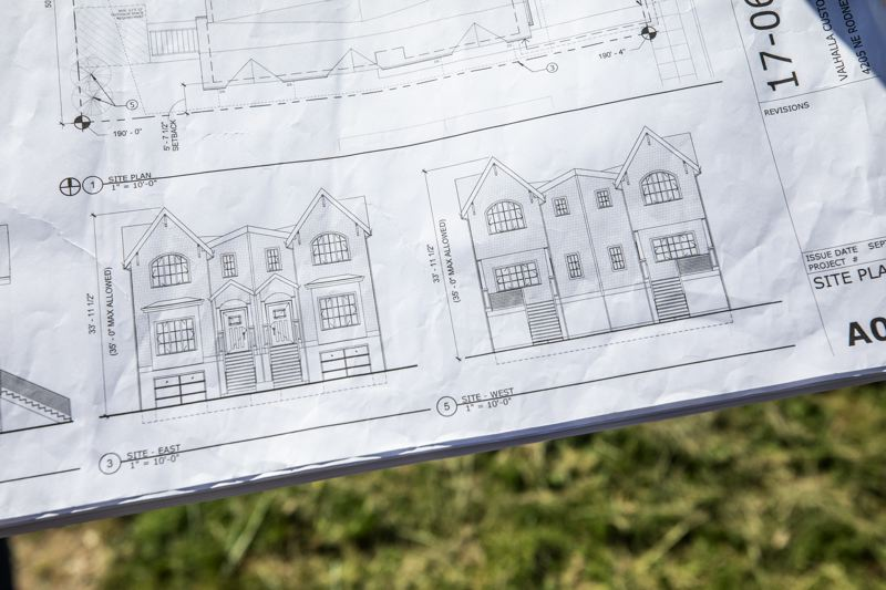 PORTLAND TRIBUNE: JONATHAN HOUSE - Valhalla's original plans were for separate driveways for each garage on the outside edge of each duplex.