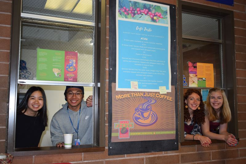 PHOTO COURTESY: LISA DANIELS - From left, 2017 La Salle Prep grads Emma Ly and Christian Reyes came up with the idea to open an in-school coffee shop, which juniors Brigid Hanley and Lenora Mathis now run to support Mexican coffee growers and raise funds for scholarships.