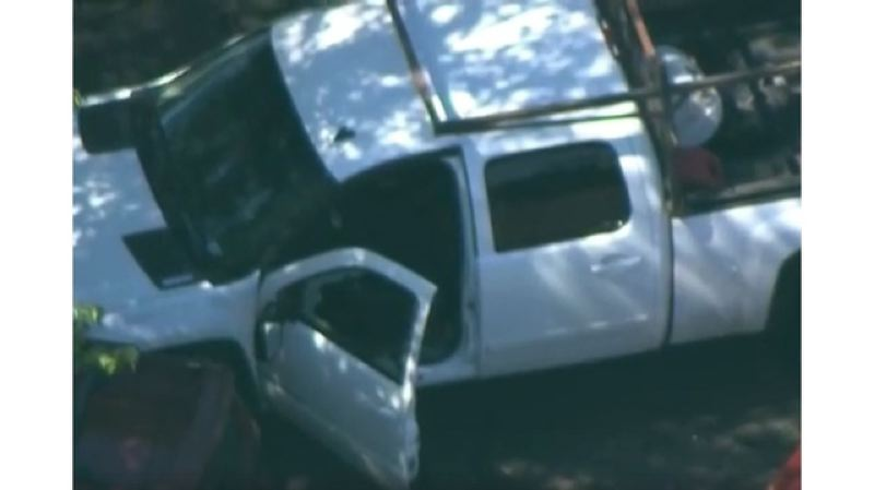 KOIN 6 NEWS - Chopper video shows a white pickup truck with a shattered window in the parking lot of a Burger King in Southeast Portland.