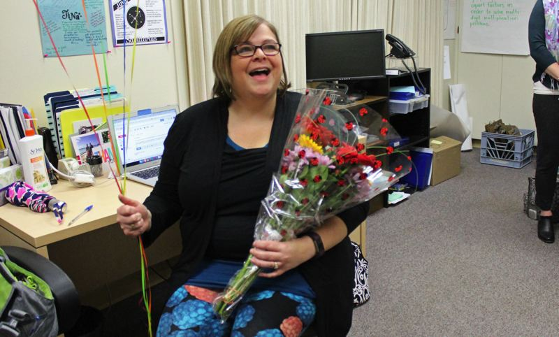 CONTRIBUTED PHOTO: GRESHAM-BARLOW SCHOOL DISTRICT - Tina Roberts, a teacher mentor at Gresham-Barlow School District is surpised by her colleagues after earning a Regional Teacher of the Year honor from the Oregon Department of Education.