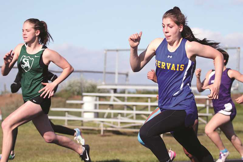 PHIL HAWKINS - Gervais freshman Katie Hanson qualified in the 200- and 400-meter dash, as well as part of the Cougars' 4x100 meter relay team.