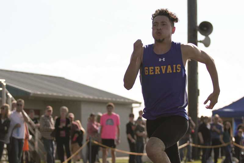 PHIL HAWKINS - Gervais senior Noel Vasquez qualified for the district finals in the 100- and 200-meter dash, but was unable to break through the field, as the Cougars failed to qualify an athlete for the 3A boys state track meet.