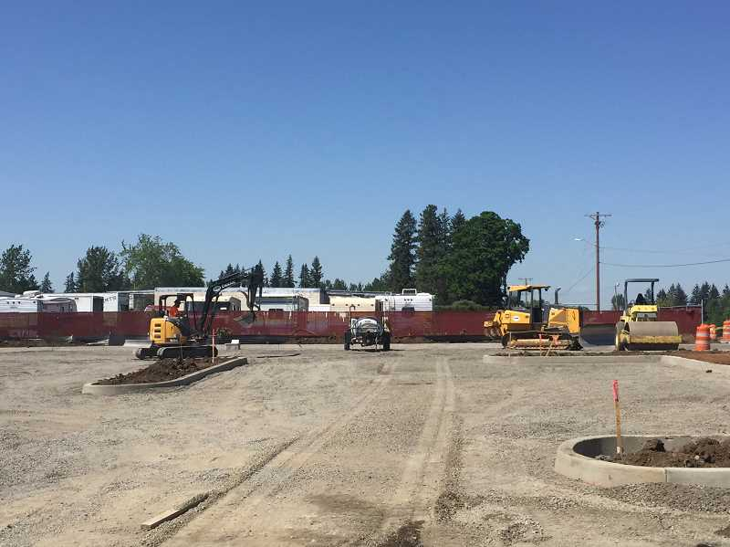 ESTACADA NEWS PHOTO: EMILY LINDSTRAND - Work on the Estacada Public Library's parking lot expansion has started.