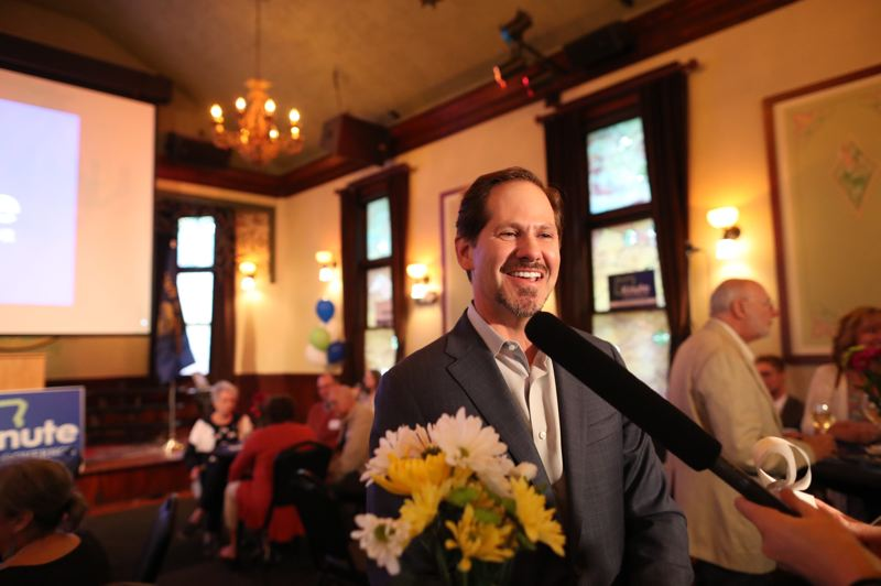JAIME VALDEZ/PORTLAND TRIBUNE - Rep. Knute Buehler, candidate for GOP nomination for governor, speaks to reporters at his primary election results watch party at McMenamins in Wilsonville Tuesday, May 15.