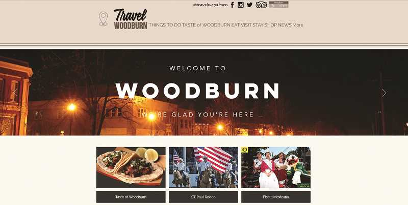 COURTESY PHOTO - This snapshot of the new Travel Woodburn website shows some of the work being done by the relatively new Woodburn Tourism Advisory Committee.
