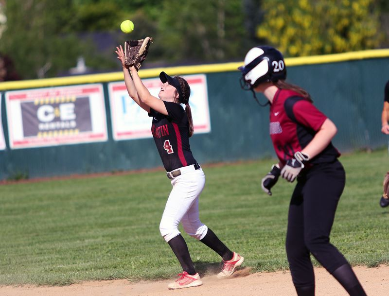 TIMES PHOTO: DAN BROOD - Tualatin sophomore shortstop Bella Valdes catches a pop-up during the Wolves 17-2 win over Sherwood.