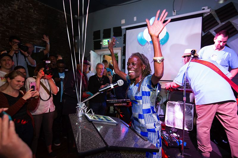 PORTLAND TRIBUNE: ADAM WICKHAM - Jo Ann Hardesty celebrates poll results for the Portland City Council contest at her election night party.