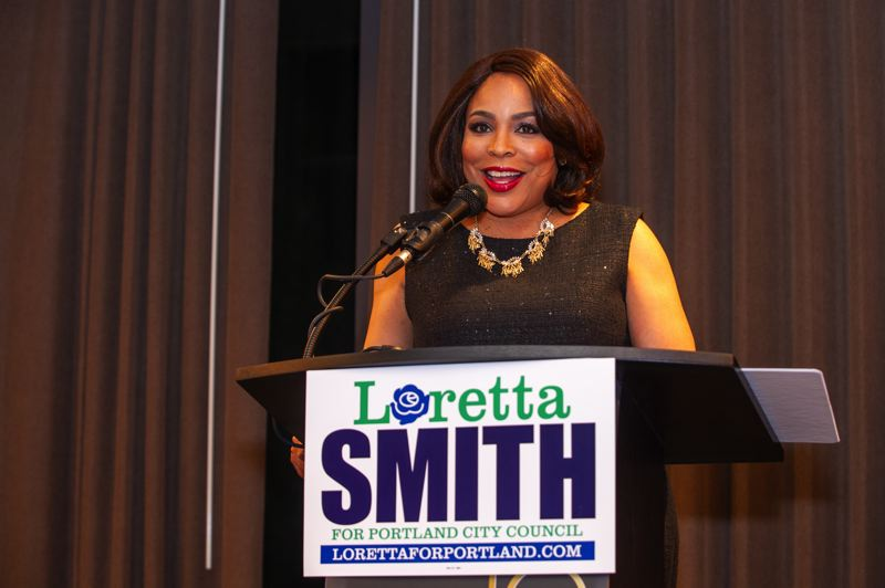PORTLAND TRIBUNE: DIEGO DIAZ - Loretta Smith talked to supports at her election night party.