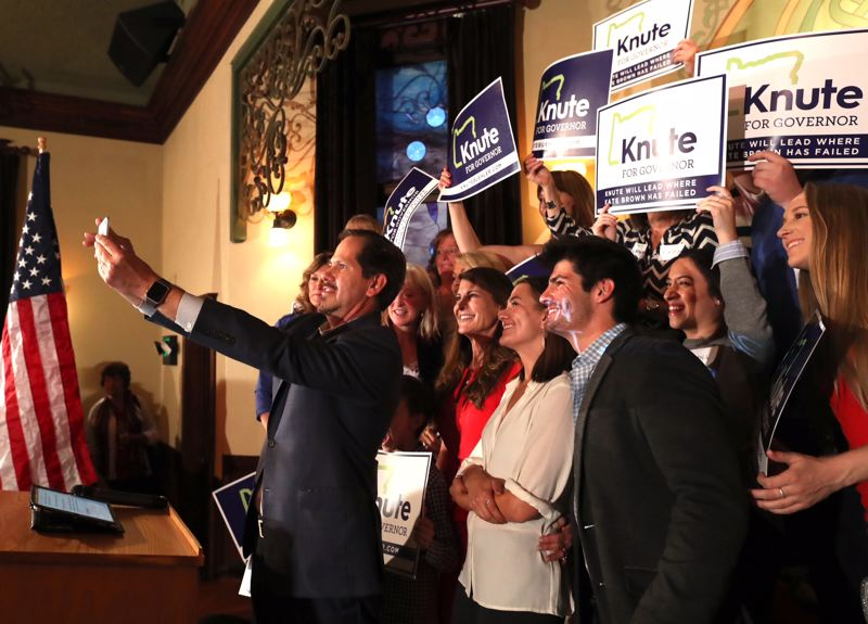 JAIME VALDEZ/PORTLAND TRIBUNE - Rep. Knute Buehler celebrates with supporters at the McMenamin's Old Church & Pub in Wilsonville after learning he won the GOP nomination for governor May 15, 2018.