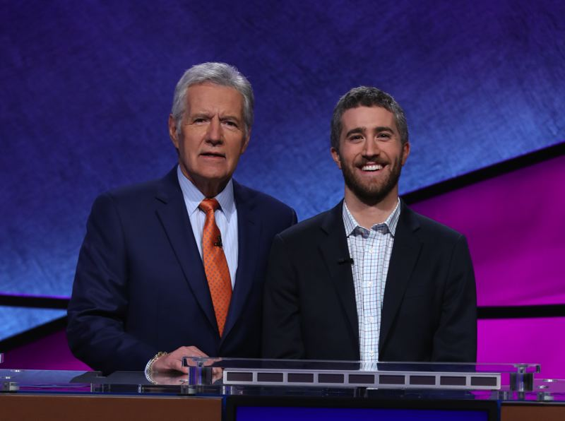 COURTESY PHOTO - Scott Montanaro poses with 'Jeopardy!' host Alex Trebek. Montanaro says he enjoyed his experience on the show, although 'they put a ton of makeup on me, which was weird.'