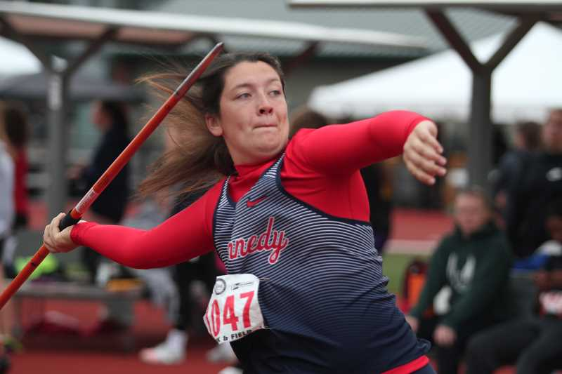 PHIL HAWKINS - Kennedy senior Abby Frey set a new personal record with a throw of 109-07 to finish fifth in the 2A girls javelin event.