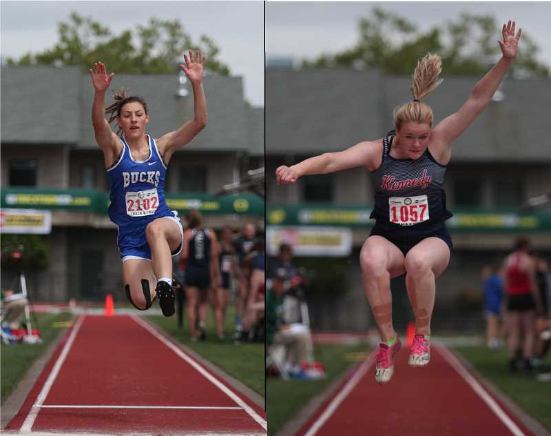 PHIL HAWKINS - St. Paul senior Logan Robinson (left) and Kennedy junior Hallie Sprauer finished ninth and eighth, respectively, in the 2A Girls Long Jump competition.