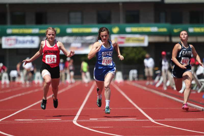 PHIL HAWKINS - St. Paul junior Rachel Vela qualified for the finals of the 2A girls 100-meter dash by finishing fifth in the preliminary heats with a time of 13.13.
