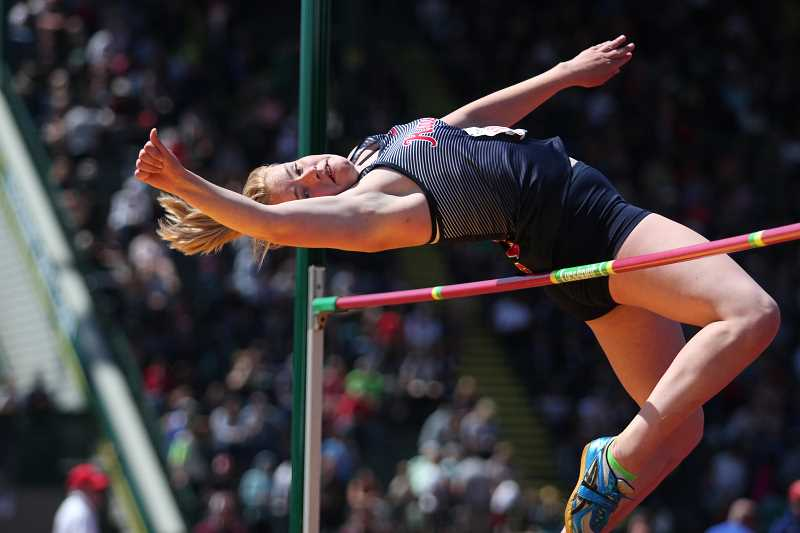 PHIL HAWKINS - Kennedy junior Hallie Sprauer set a new personal best in the high jump, clearing 5-03 to finish second overall in the event at the 2018 2A Track and Field State Championships.