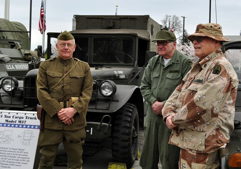 PHOTO BY CAPT. HEATHER BASHOR, OREGON MILITARY DEPARTMENT PUBLIC AFFAIRS - Historical vehicles and re-enactors provided by the Oregon Military Museum display the military history from World War I to present day at Camp Withycombe in Clackamas.